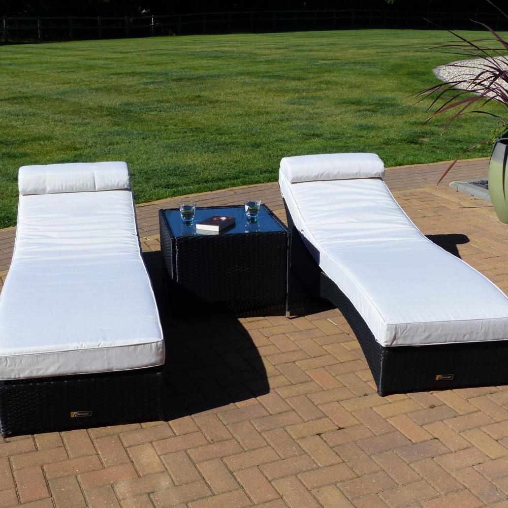 2 tumbonas de jard n barbados mesa auxiliar bali for Rebajas muebles jardin