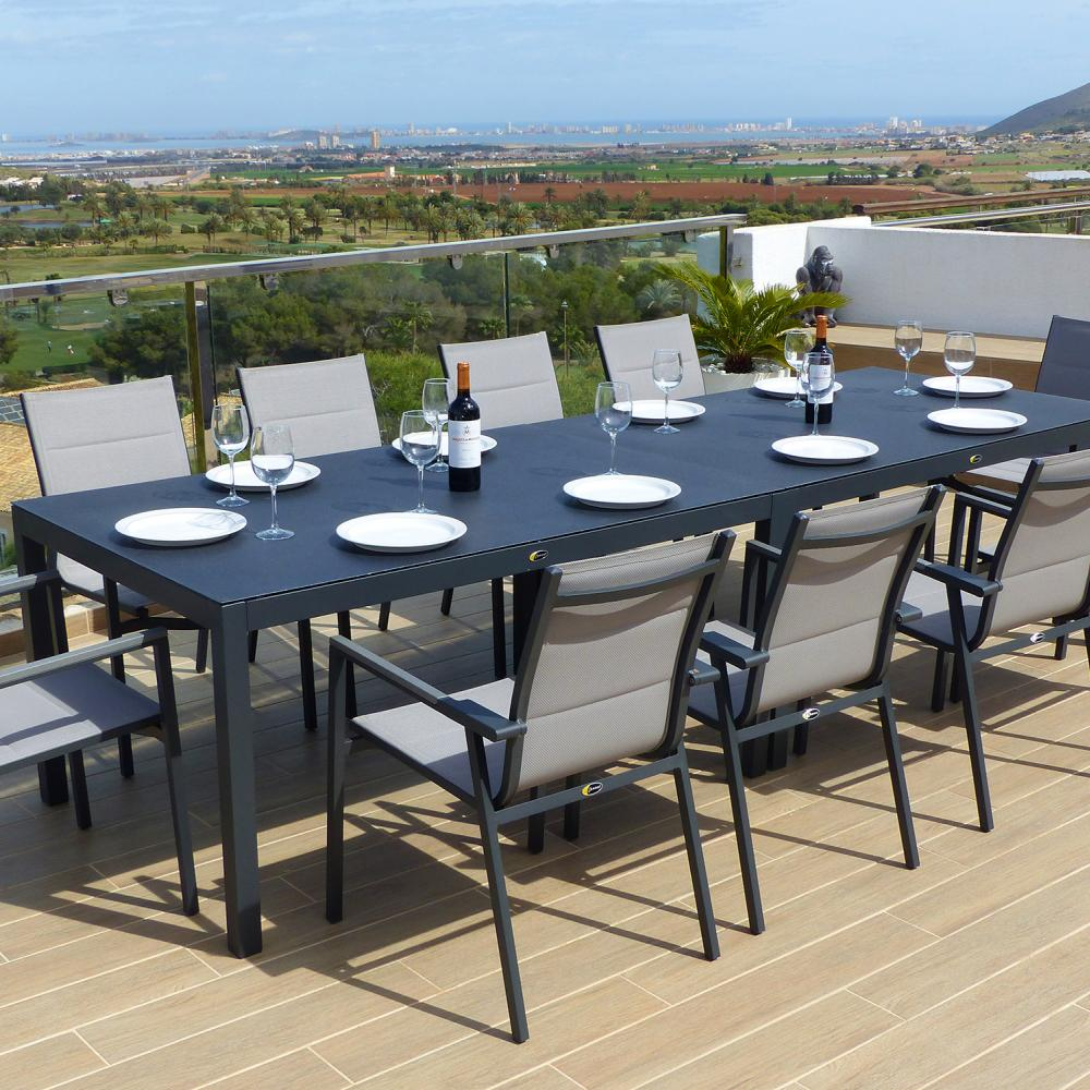 Valencia Aluminium Dining Tables with 10 Texteline Chairs