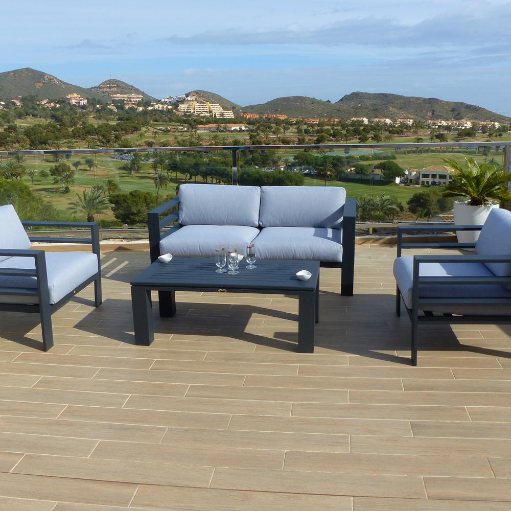 Conjunto de sof valencia oceans muebles de jard n for Rebajas muebles de jardin