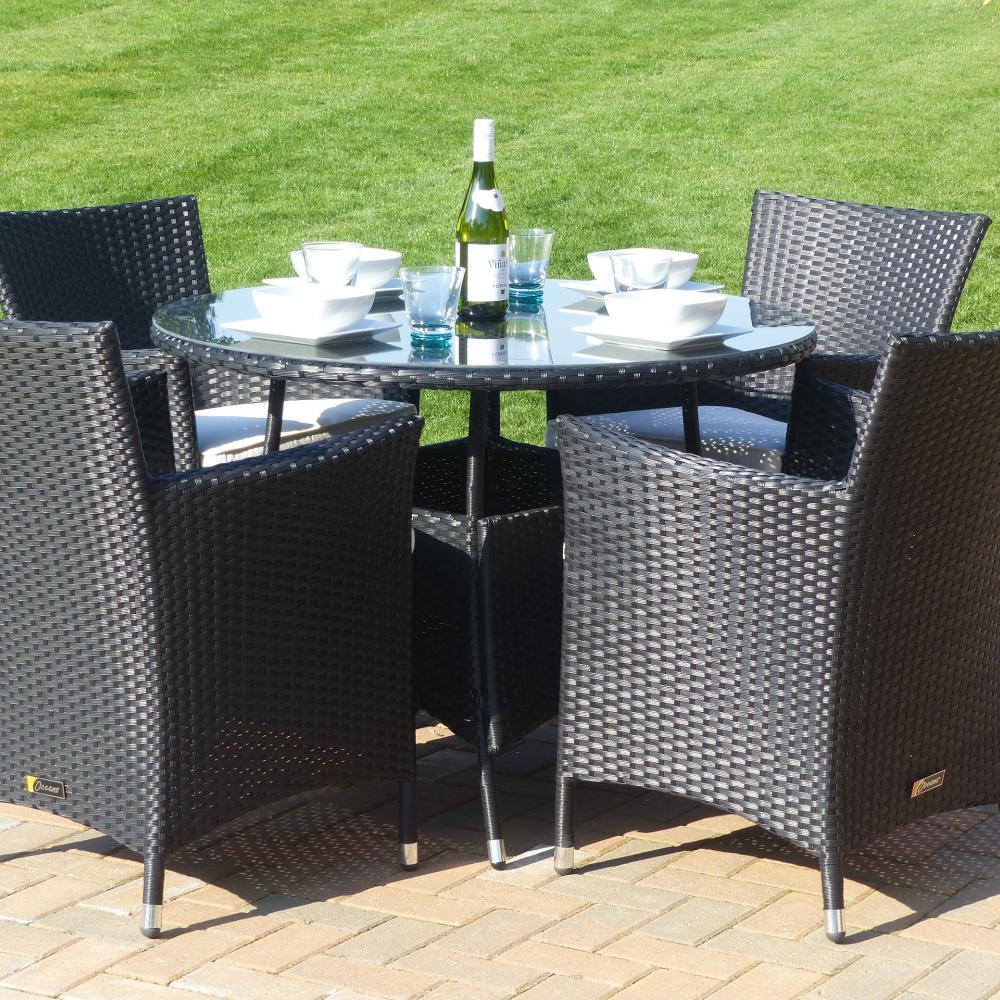 Seville round dining set oceans garden furniture for Round dining set
